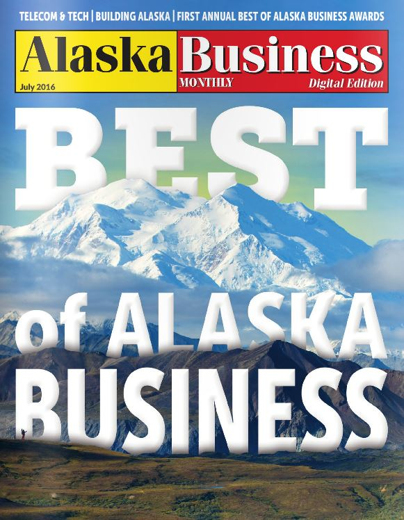 Cover of Alaska Business Monthly Magazine's Best of Alaska Business July 2016 issue with Denali Mountain in the background
